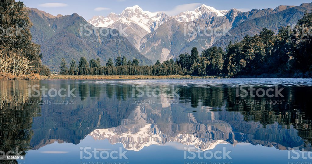 Lake Matheson Reflections Panorama, New Zealand stock photo