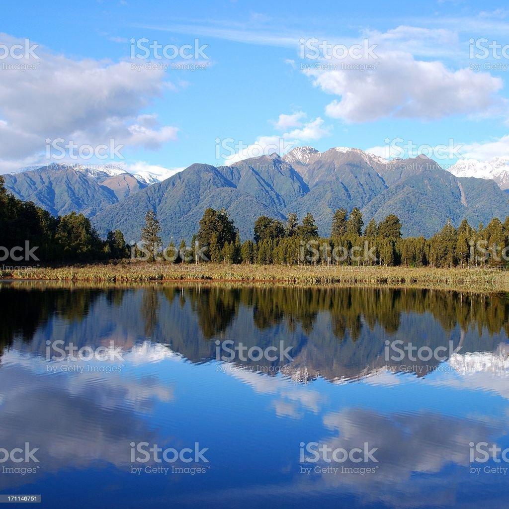 Lake Matheson, West Coast, New Zealand stock photo