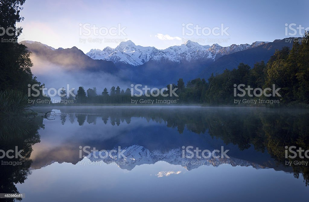 Lake Matheson with reflection of Mount Cook stock photo