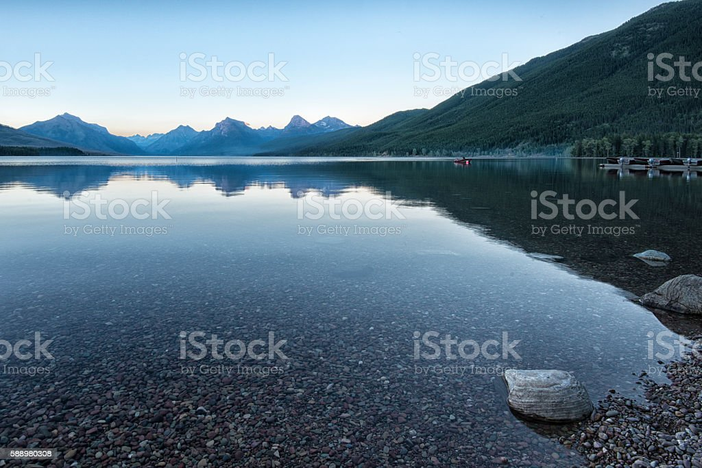 Lake McDonald at Sunset, Glacier National Park stock photo