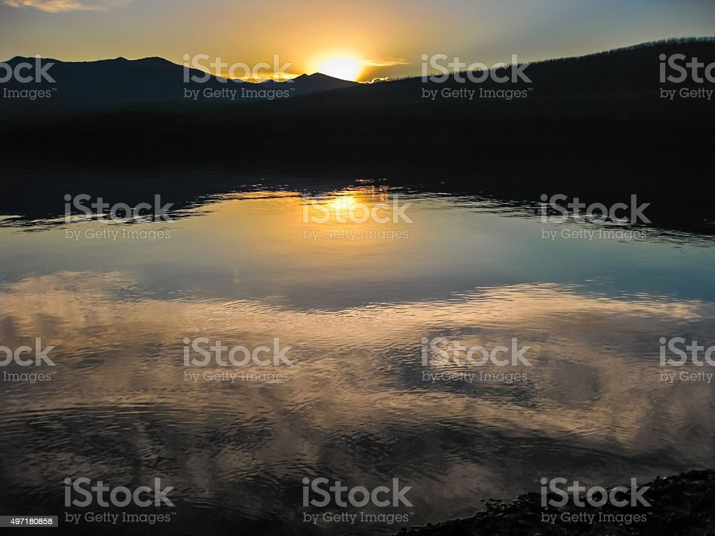Lake McDonald at sunset stock photo