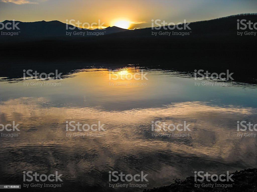 Lake McDonald at sunset stock photo