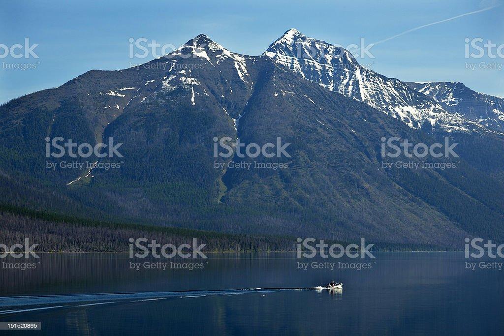 Lake McDonald Fishing Boat Glacier National Park Montana royalty-free stock photo