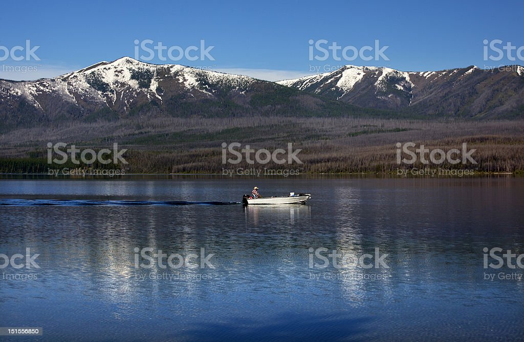 Lake McDonald Fishing Glacier National Park Montana royalty-free stock photo