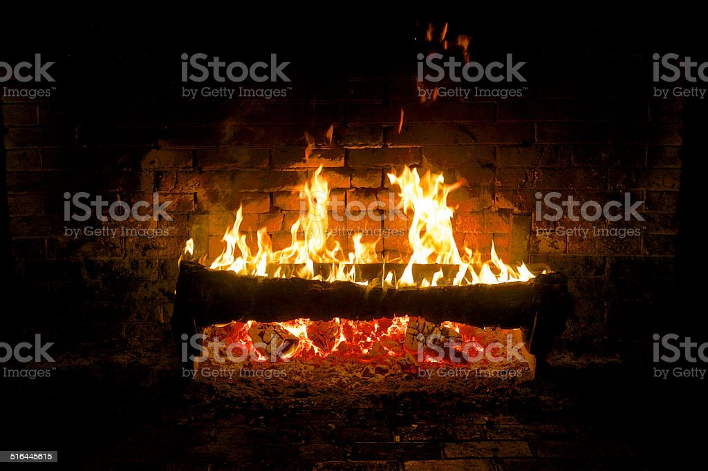 Lake McDonald Glacier National Park Old Fireplace with Log Fire stock photo