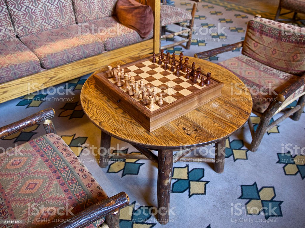 Lake McDonald Glacier National Park Old Furniture Chess Game stock photo
