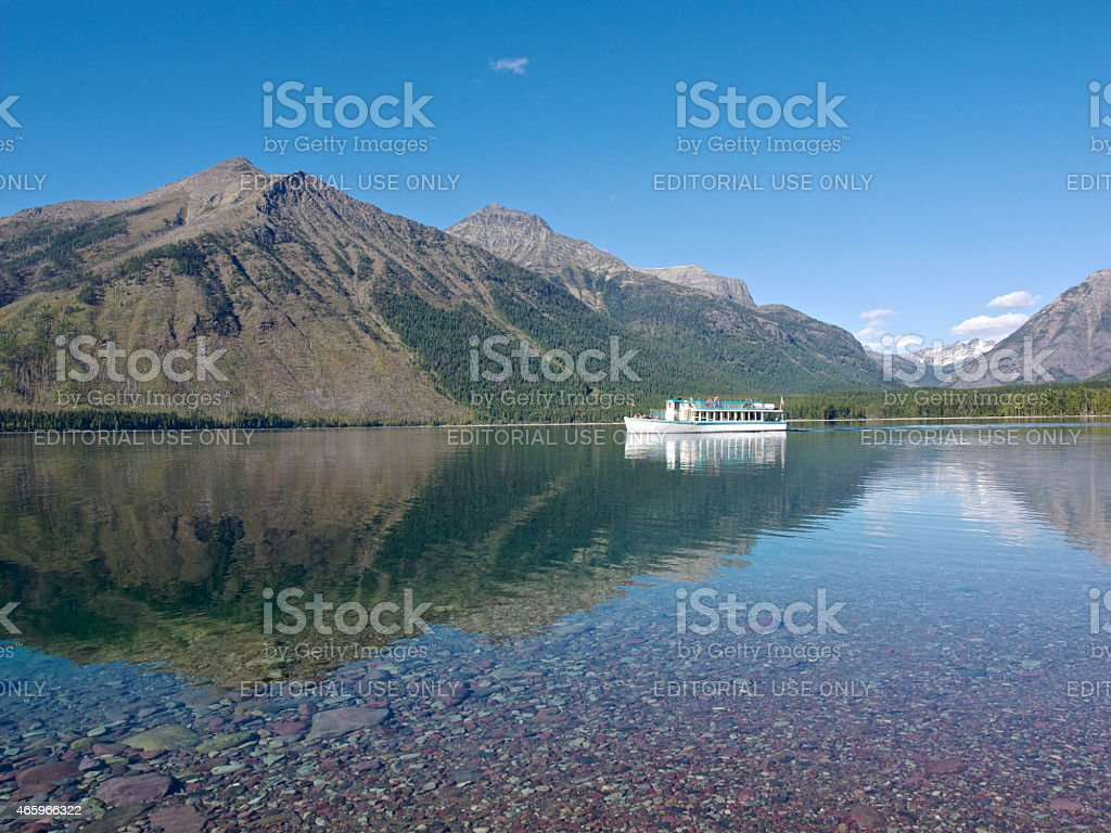 Lake McDonald Glacier National Park Wooden Tour Boat stock photo