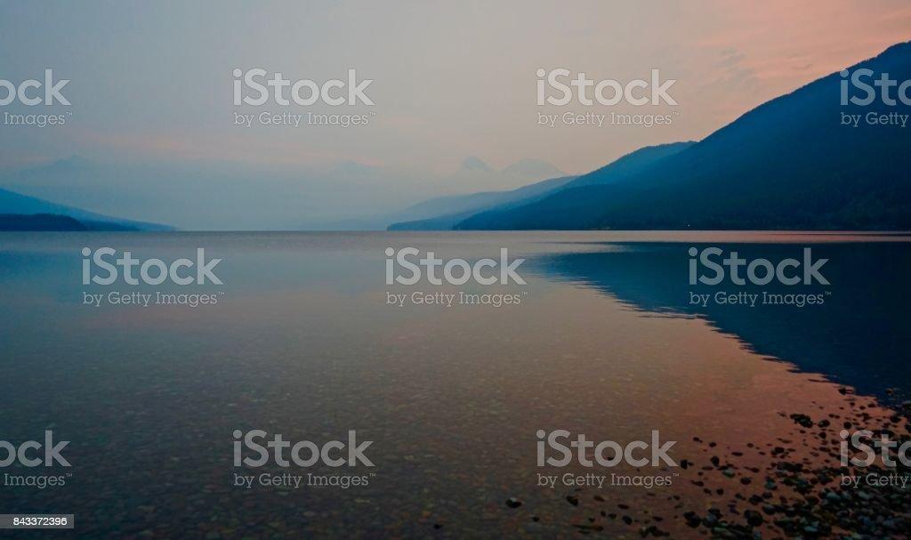 Lake McDonald Haze stock photo
