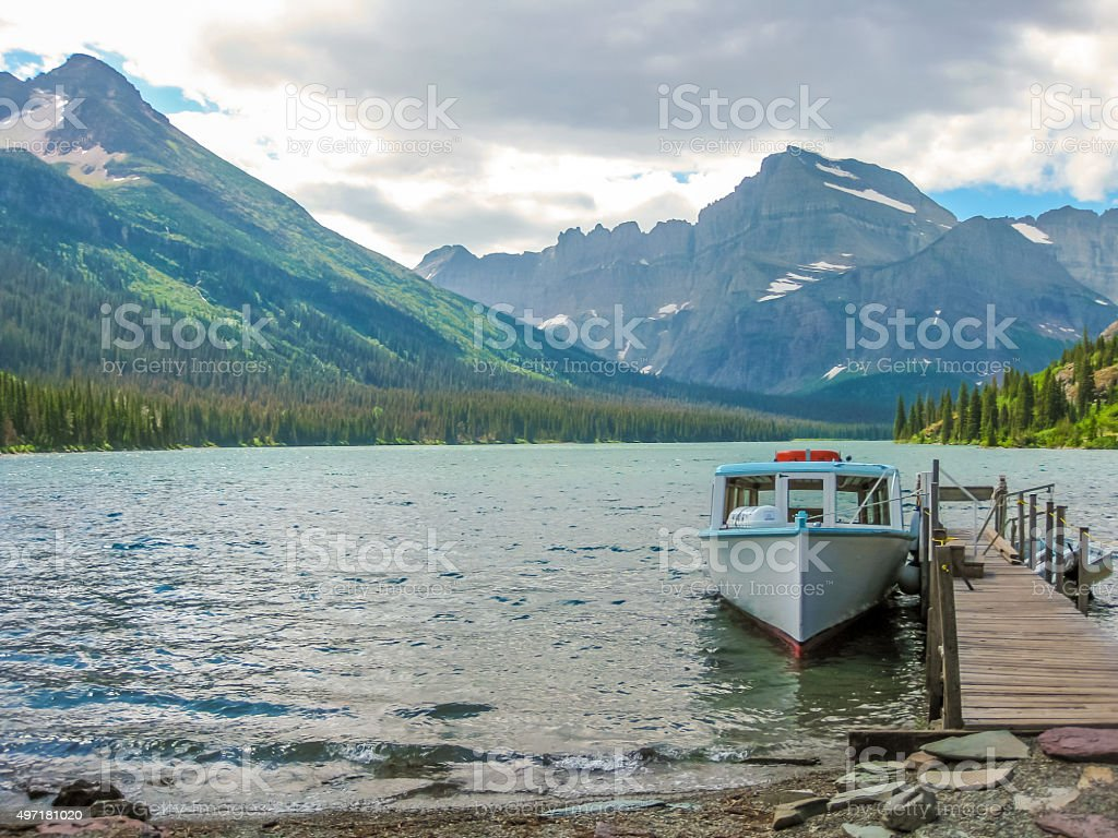 Lake McDonald in Glacier Montana stock photo