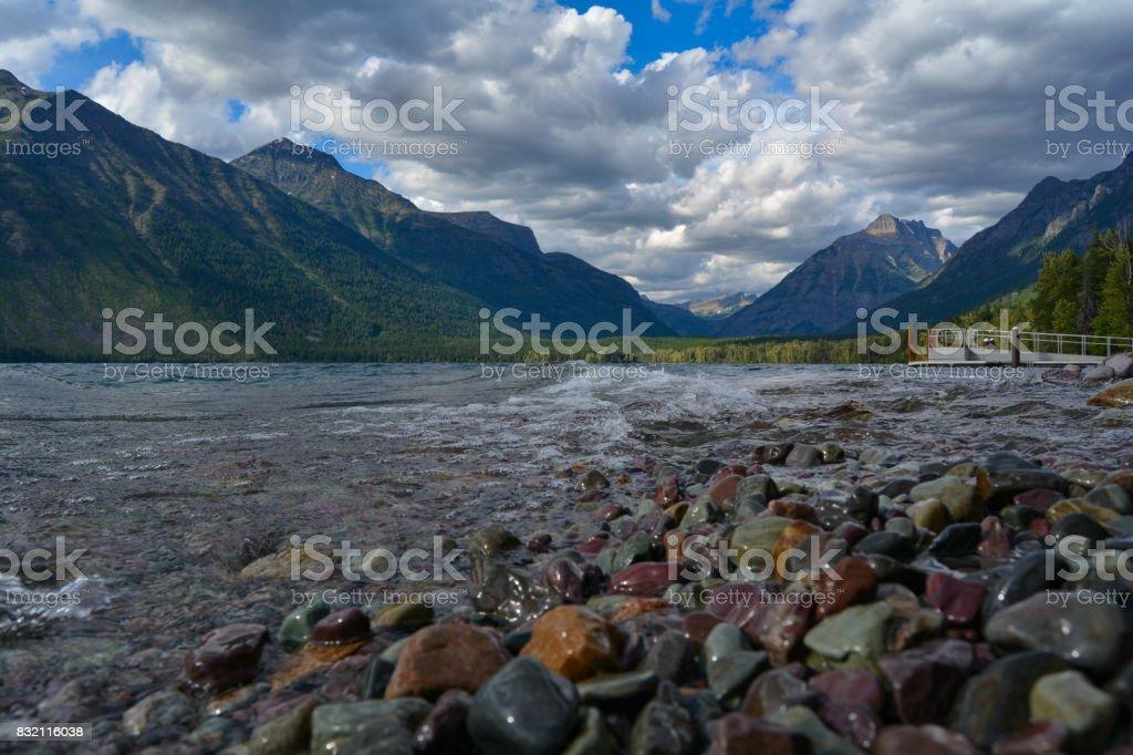 Lake McDonald in Glacier National Park, Montana stock photo