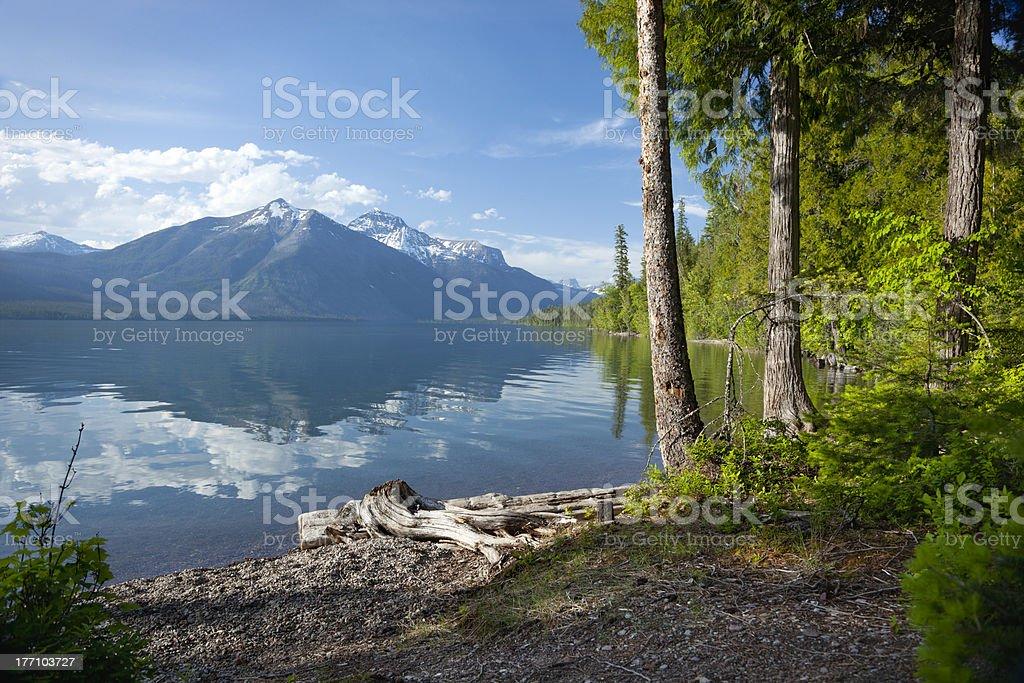 Lake McDonald in Glacier National Park stock photo