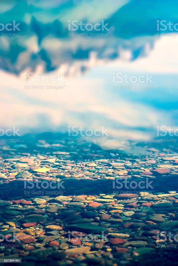 Lake McDonald Reflection stock photo