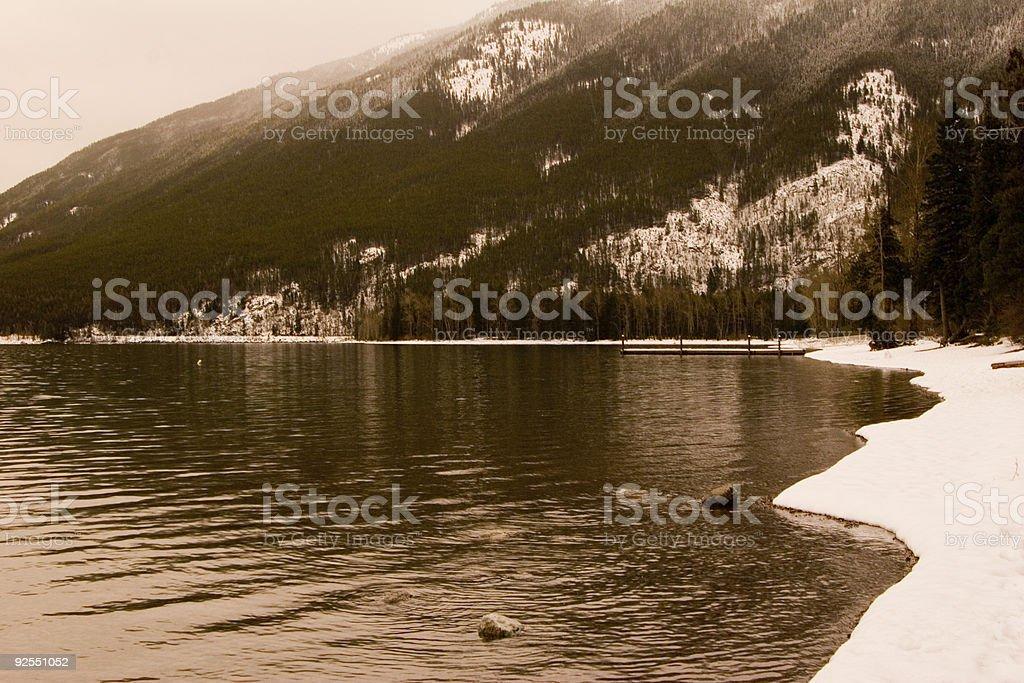 Lake McDonald Shoreline stock photo