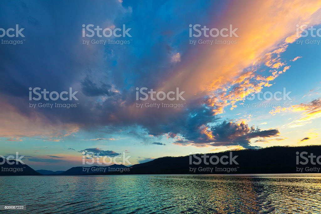 Lake McDonald Sunset at Glacier National Park, Montana, USA stock photo