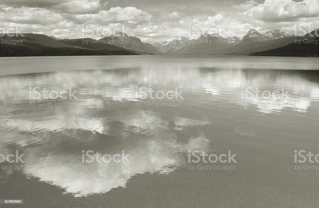 Lake McDonald--Homage to Ansel Adams stock photo