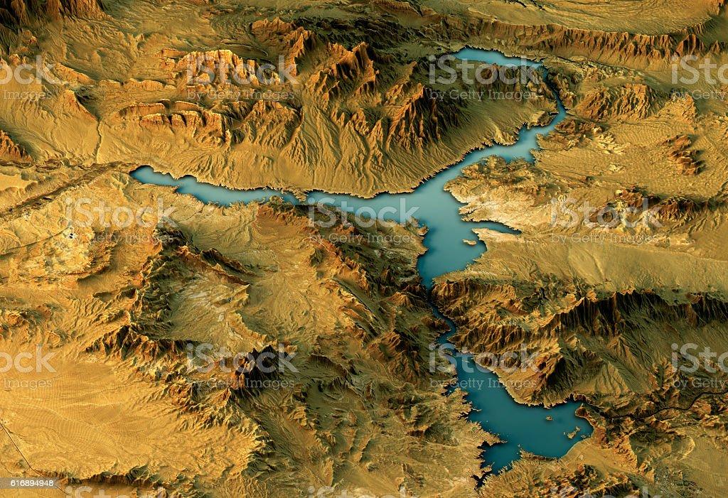 Lake Mead 3D Landscape View West-East Natural Color stock photo