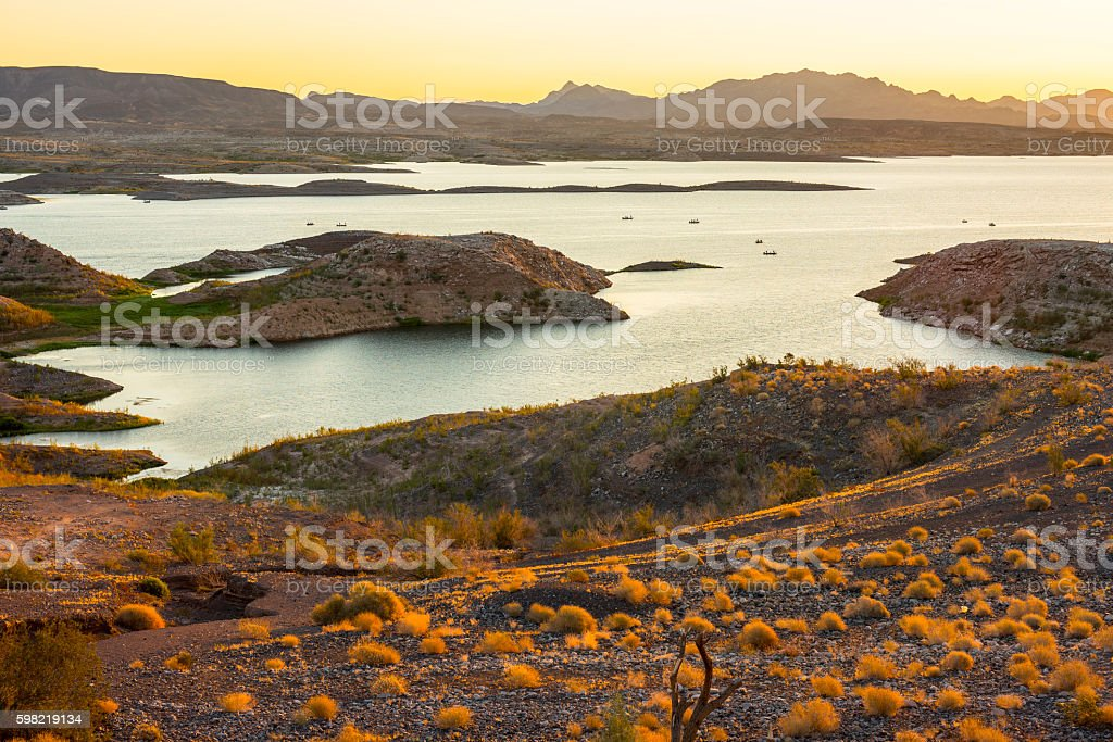Lake Mead and Anglers at dawn stock photo