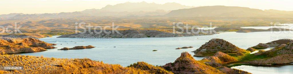 Lake Mead at dawn Panorama stock photo