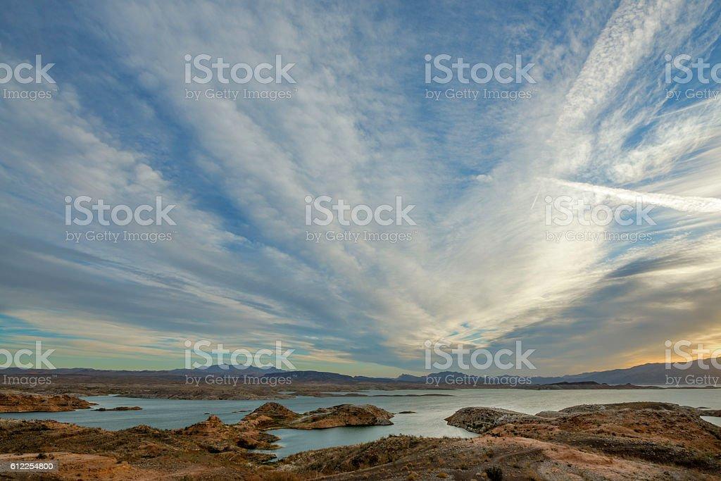 Lake Mead at dawn stock photo