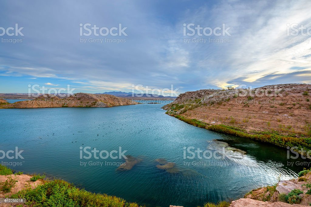 Lake Mead at dawn stock photo