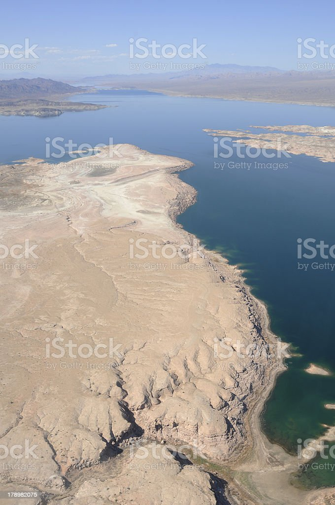 Lake Mead from helicopter with room for copy at top. stock photo