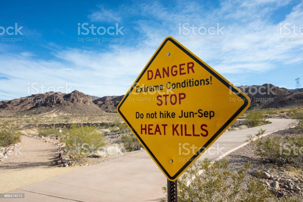 Lake Mead hiking warning signs stock photo