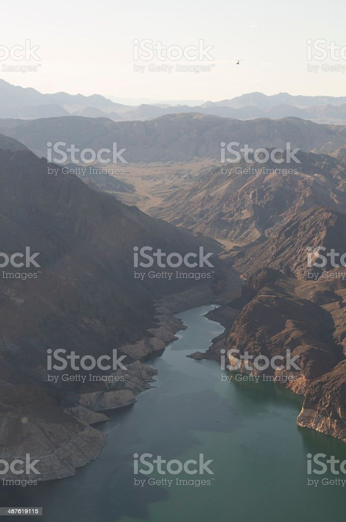 Lake Mead, Nevada from a helicopter. stock photo