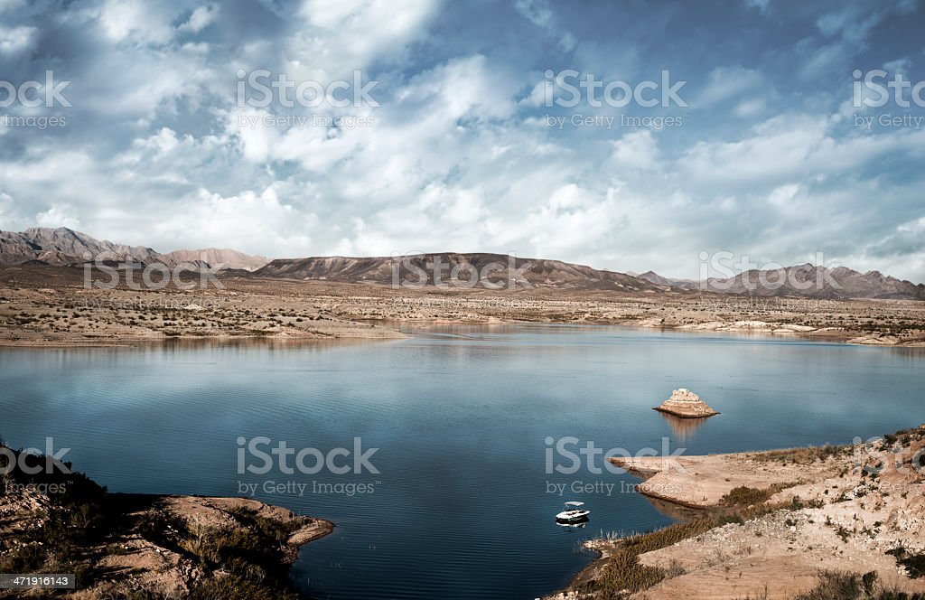 Lake Mead with boat in foreground stock photo