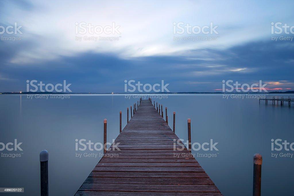 Lake Mendota Pier, Madison, Wisconsin stock photo