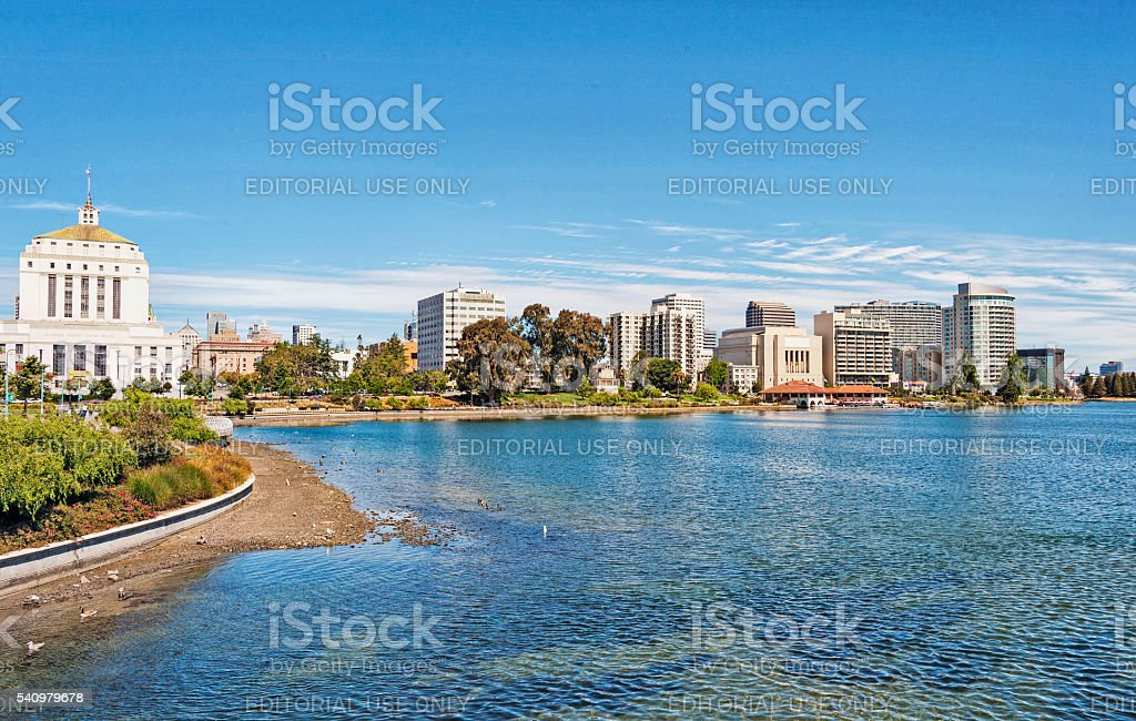 Lake Merritt Shore Line Views Downtown Oakland stock photo