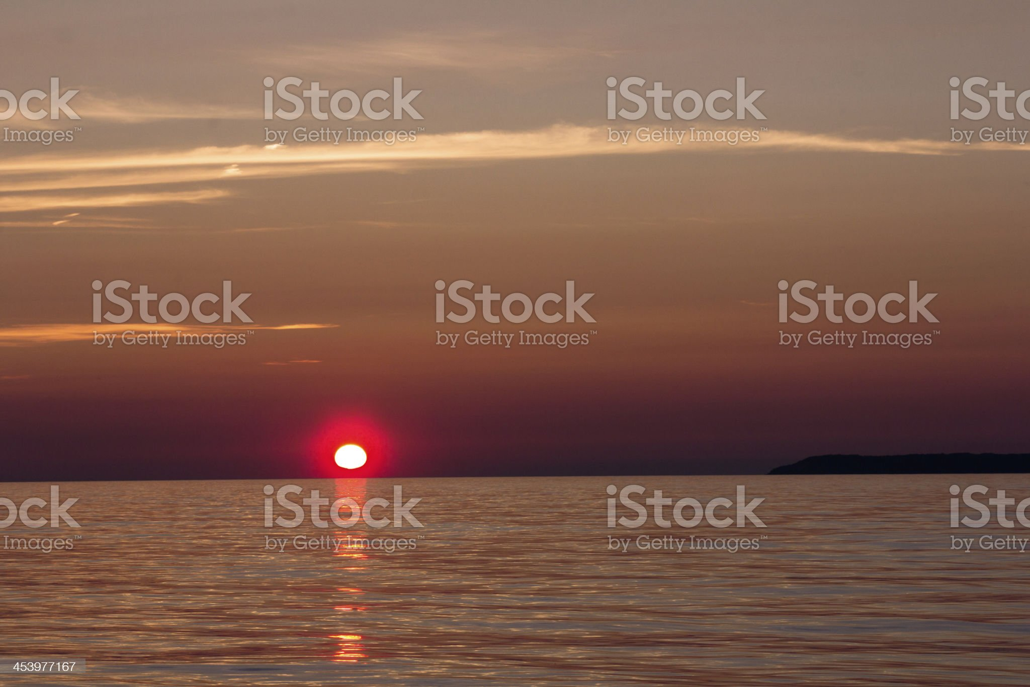 Lake Michigan and Manitou Sunset royalty-free stock photo