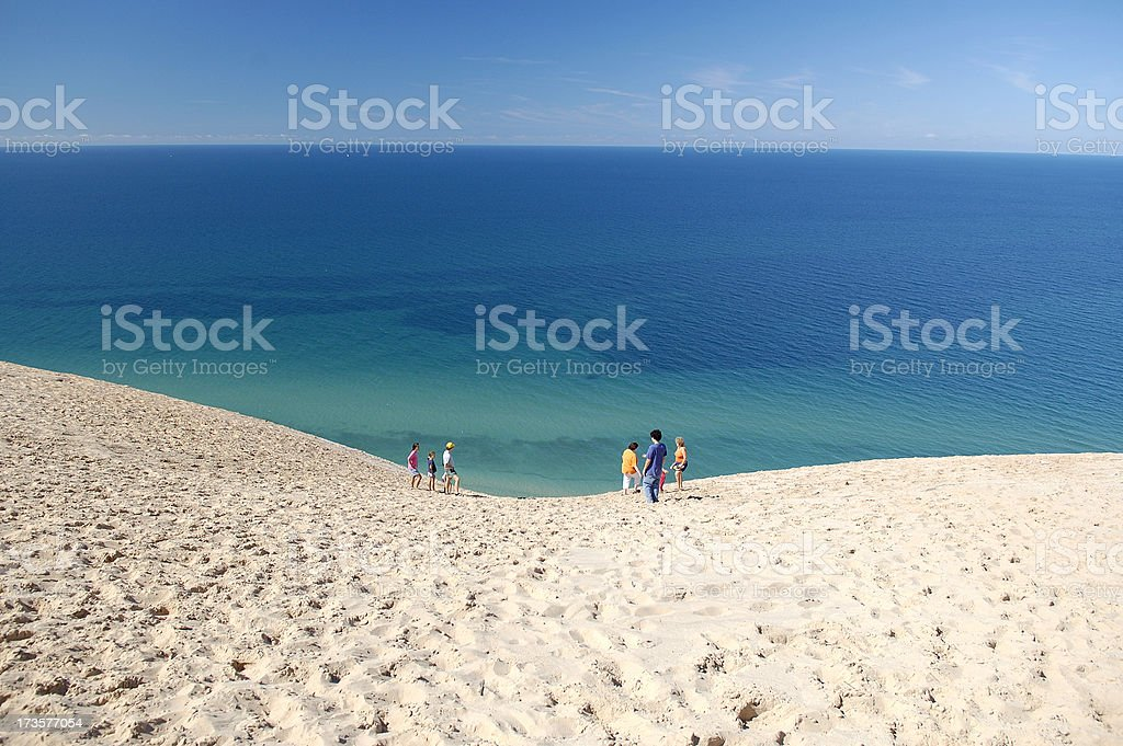 Lake Michigan and sand dune stock photo