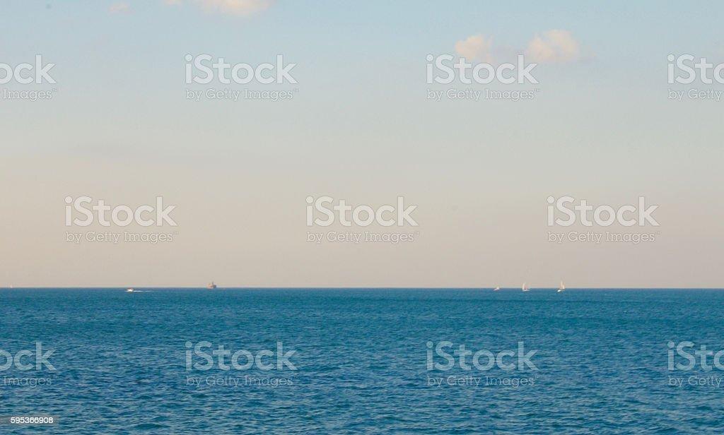 Lake Michigan in Chicago summer with sailboats in the background. stock photo