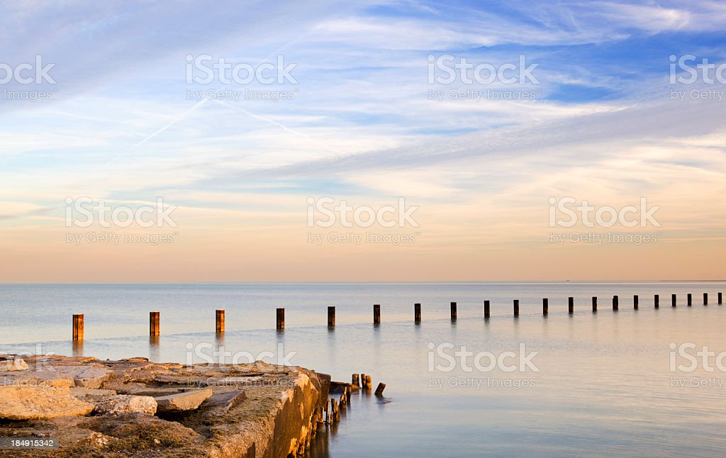 Lake Michigan in the early evening stock photo