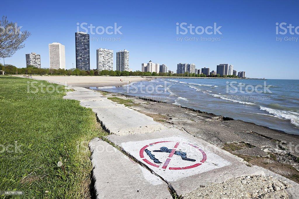 Lake Michigan Lakeshore, Chicago North Side stock photo