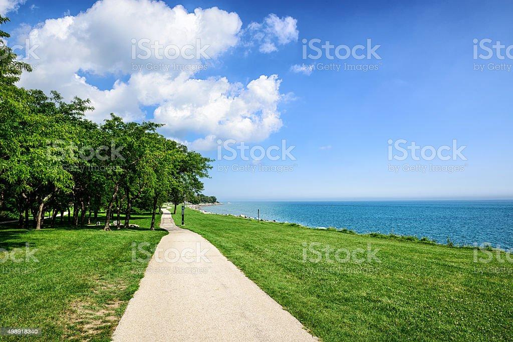 Lake Michigan lakeshore in Evanston, Illinois stock photo