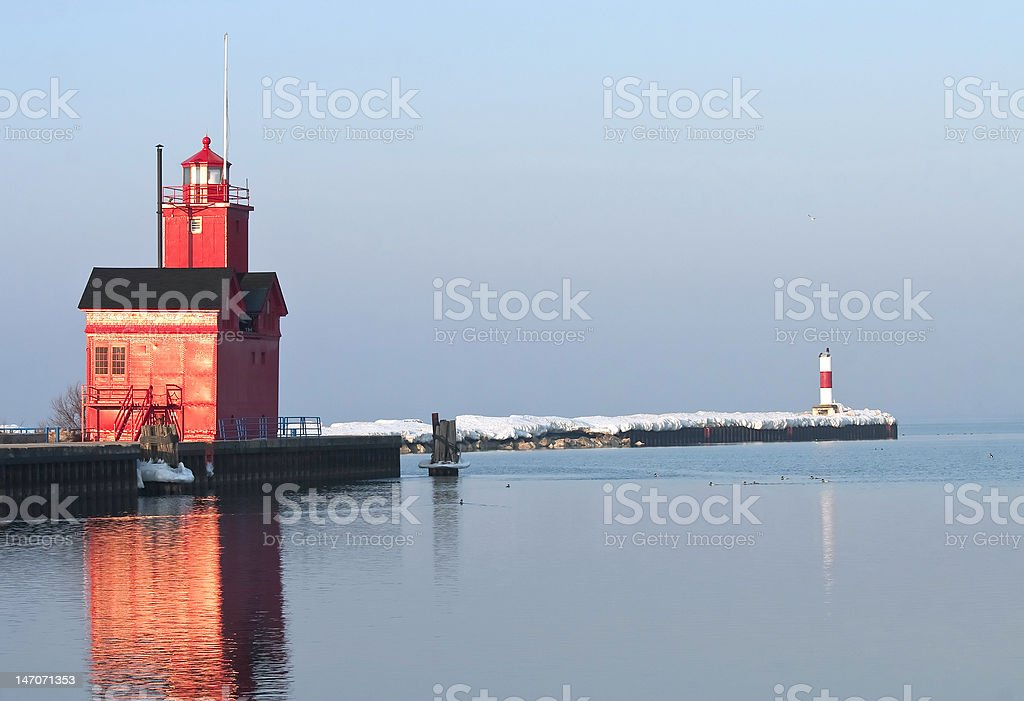 Lake Michigan LIghthouse and Channel Marker in Morning light stock photo