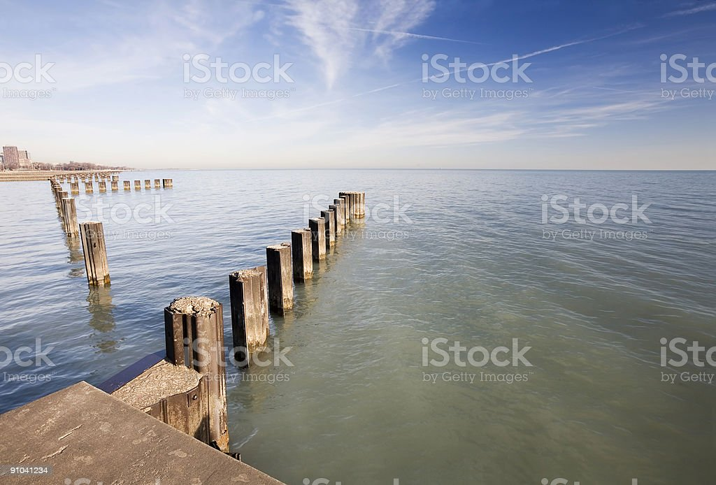 Lake Michigan Pilings royalty-free stock photo