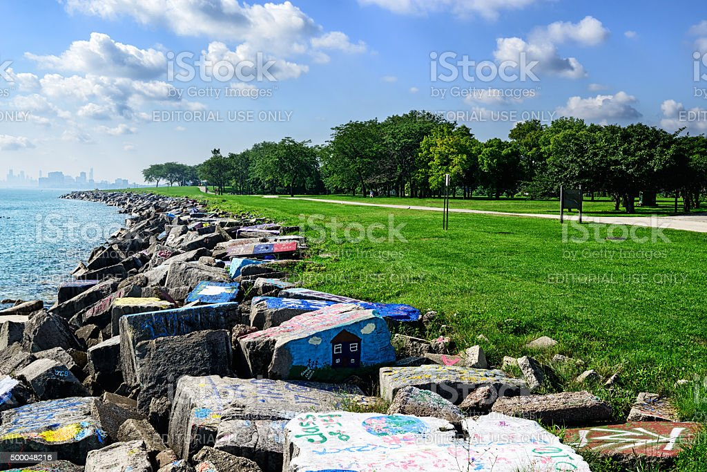 Lake Michigan Shireline in Evanston with distant Chicago stock photo