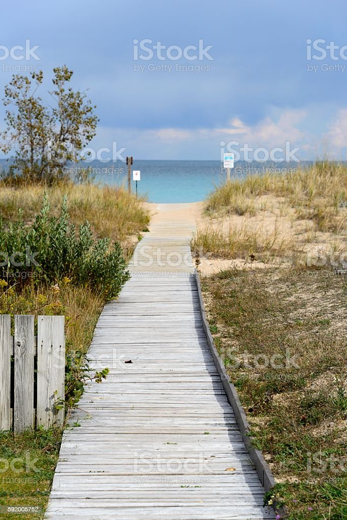 Lake Michigan Shore on Leelanau Peninsula stock photo