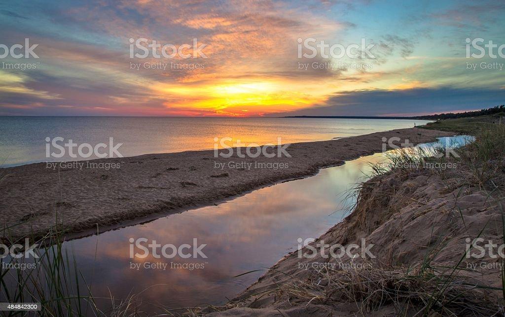 Lake Michigan Sunset In Michigan's Upper Peninsula stock photo