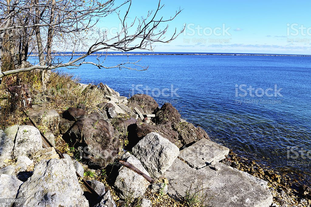 Lake Michigan viewed from  Park 523, Chicago stock photo