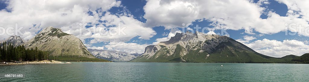 Lake Minnewanka in Banff National Park. stock photo