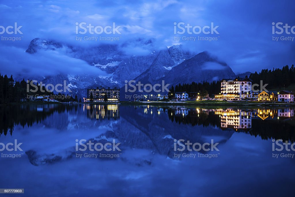 Lake Misurina at Dusk stock photo
