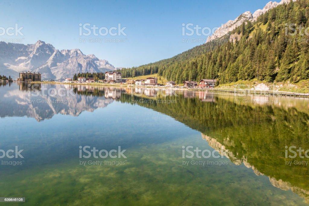 Lake Misurina in Italy stock photo