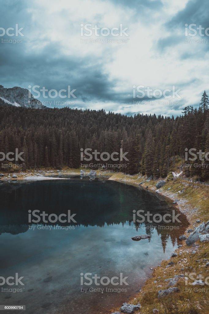lake Misurina in the Alps stock photo