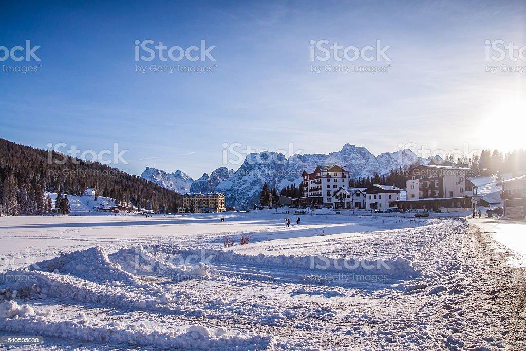 Lake Misurina in the Italian Dolomites in the winter stock photo