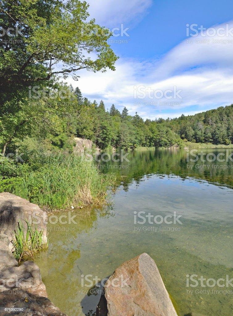 Lake Montiggler,Appiano,South Tirol,Italy stock photo