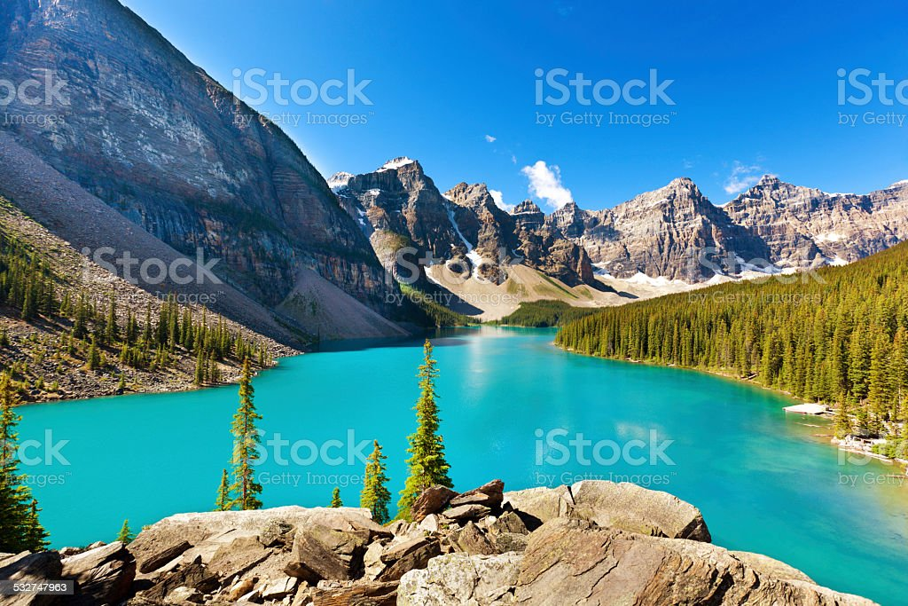 Lake Moraine Emerald Waters and Canadian Rockies, Banff National Park stock photo