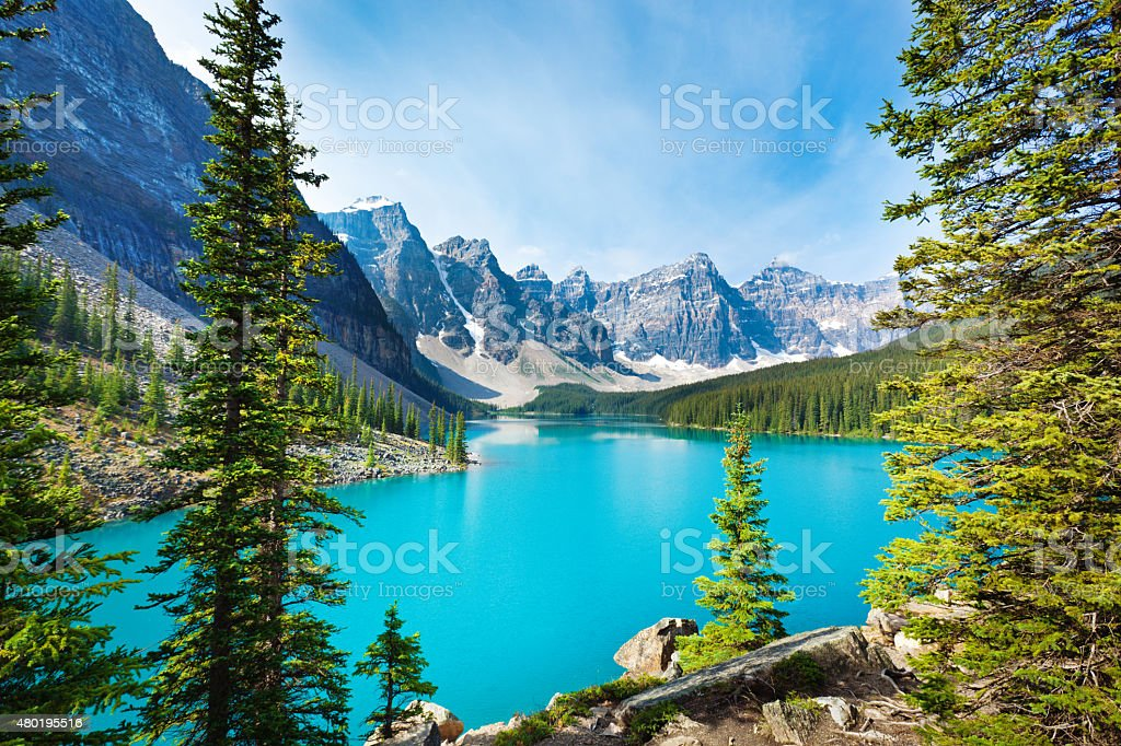 Lake Moraine in Banff National Park Alberta, Canada stock photo